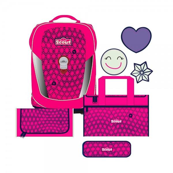 Scout Sunny II Neon Safety Schulranzen-Set 4tlg. Pink Glow
