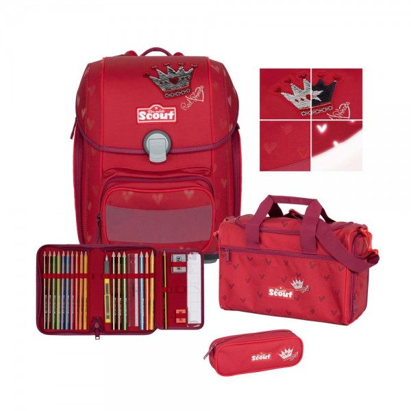 Scout Genius Premium Schulranzen-Set 4tlg. Red Princess