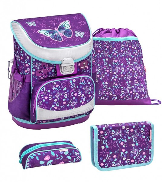 Belmil Mini-Fit Schulranzenset 4-teilig Amazing Butterfly