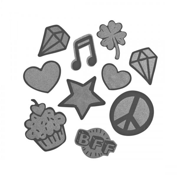 """coocazoo Reflektierendes Sticker-Set """"StickyRicky"""", Silver"""