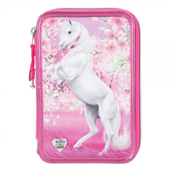 3-fach Federmäppchen Glitzer Pferd im rosa Blütenmeer