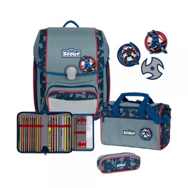 Scout Genius Schulranzen-Set 4tlg. Blue Ninja