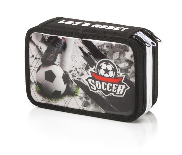"3-fach Federmäppchen Federmappe ""Let´s Goal Soccer"" schwarz"