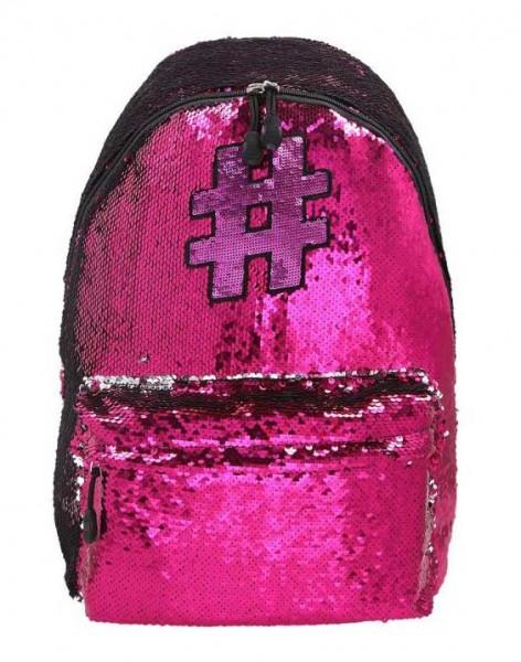 Spirit Rucksack Hashtag #01 mit Pailletten in pink / silber