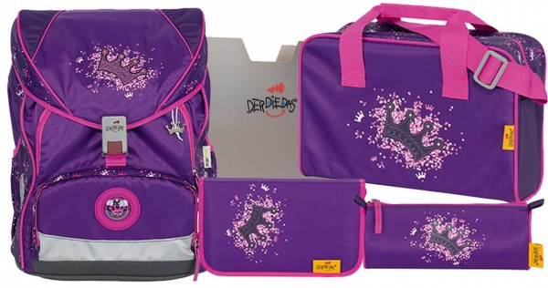 DerDieDas ErgoFlex XL Schulranzen-Set 5tlg. Purple Princess