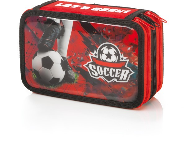 "3-fach Federmäppchen Federmappe ""Let´s Goal Soccer"" rot"