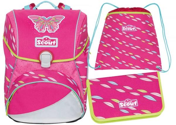 Scout Alpha Schulranzen-Set 3tlg. Pink Butterfly