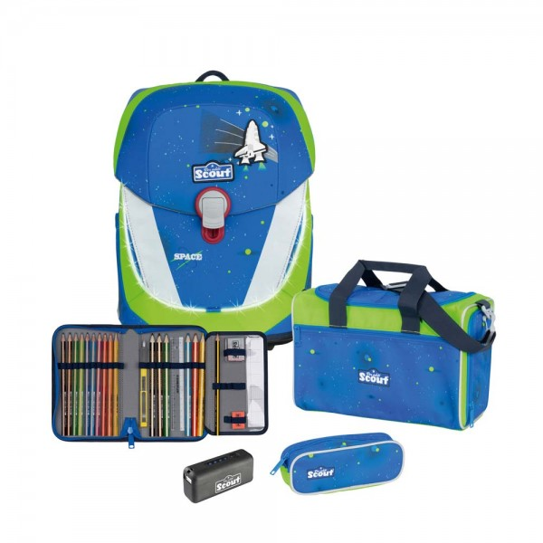 Scout Sunny II Safety Schulranzen-Set 4tlg. Blue Space