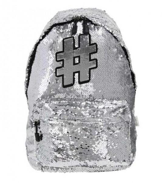 Spirit Rucksack Hashtag #02 mit Pailletten in Silber