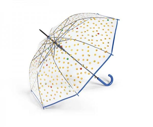 Regenschirm Stockschirm transparent mit Smileys, Farbe blau