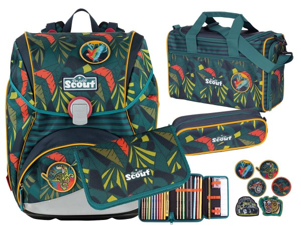 Scout Alpha Stickys Schulranzen-Set 4tlg. Jungle