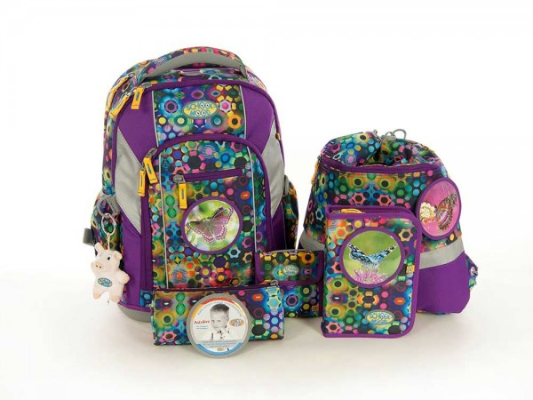 School Mood Schulrucksack Set 7tlg. LOOP Victoria Schmetterlinge