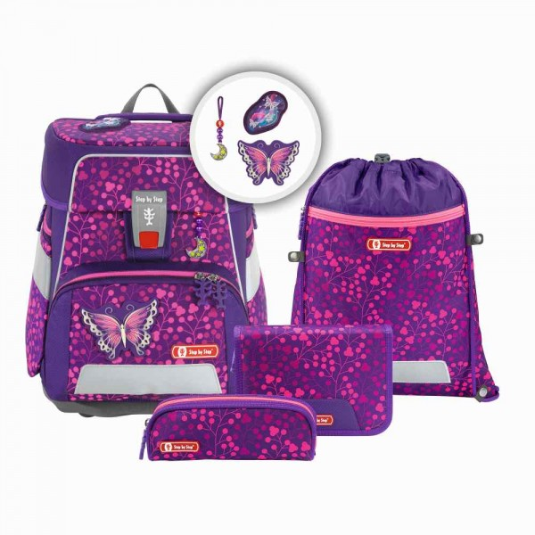 Step by Step Space Shine Schulranzenset 5tlg. Butterfly Night