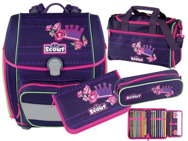 Scout Genius Schulranzen-Set 4tlg. Flower Princess