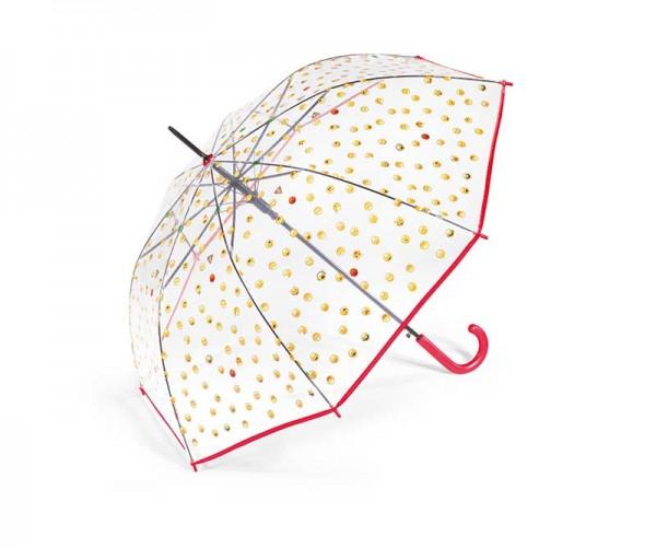 Regenschirm Stockschirm transparent mit Smileys, Farbe rot