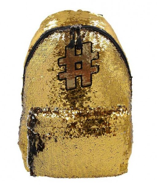 Spirit Rucksack Hashtag #03 mit Pailletten in Gold/Silber
