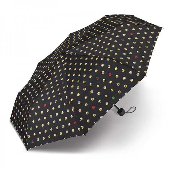 Regenschirm Super Mini Essentials Smiley Tschenschirm in schwarz mit Hülle