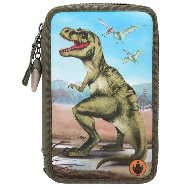 3-fach Federmäppchen Federmappe Dino World mit Licht