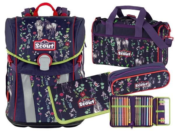 Scout Sunny Schulranzen-Set 4tlg. Flower Horses