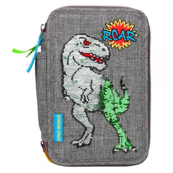 3-fach Federmäppchen Federmappe Dino World T-Rex mit Streichpailletten
