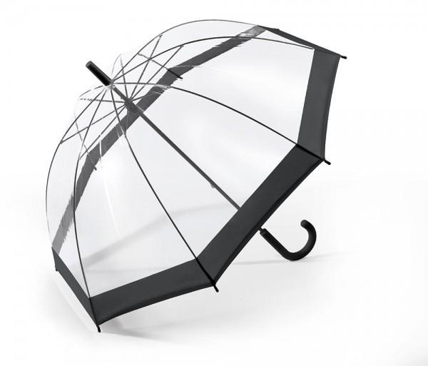 Regenschirm Glockenschirm mit Stock, schwarz transparent