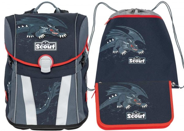 Scout Sunny Schulranzen-Set 3tlg. Black Dragon