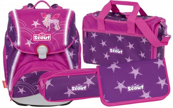 Scout Alpha Safety Schulranzen-Set 4tlg. Unicorn Star