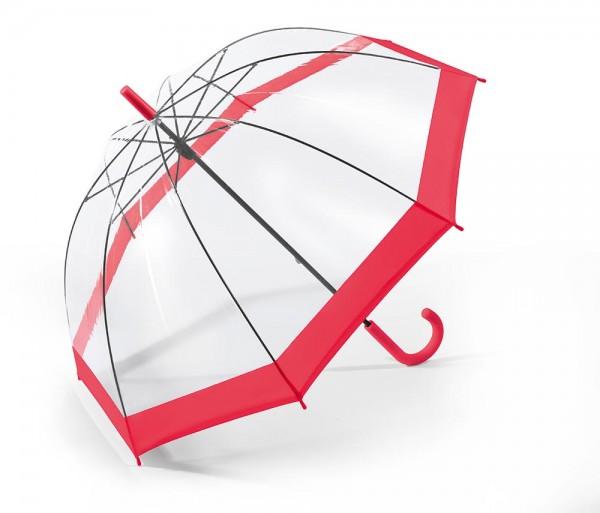 Regenschirm Glockenschirm mit Stock, rot transparent