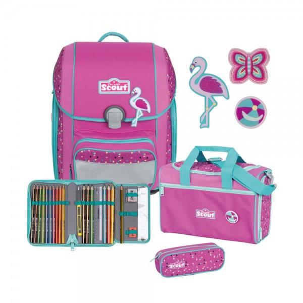 Scout Genius Schulranzen-Set 4tlg. Flamingo
