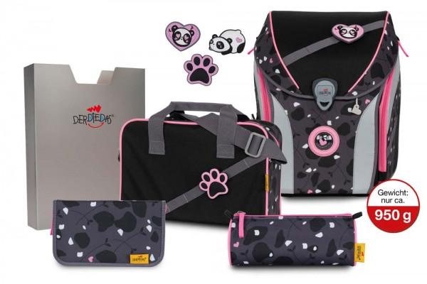 DerDieDas ErgoFlex MAX Buttons Schulranzen-Set 5tlg. Pink Panda