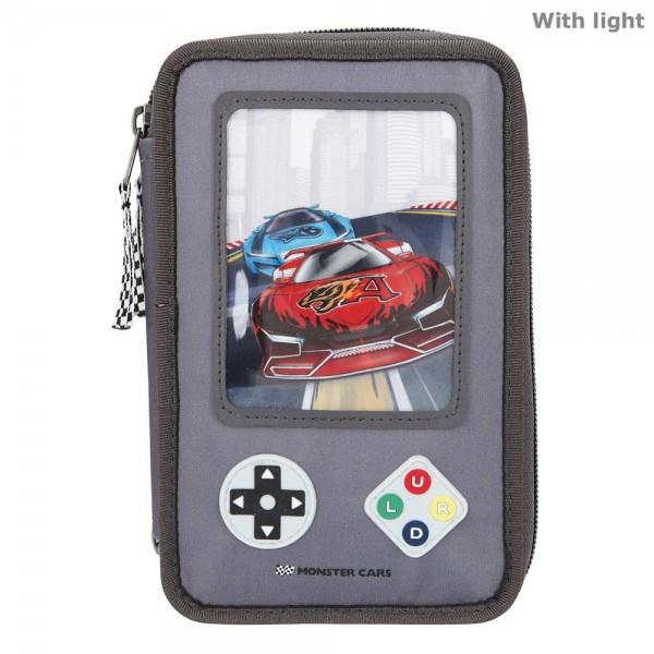 3fach Federmäppchen Monster Cars Spielkonsole