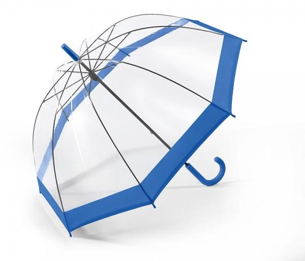 Regenschirm Glockenschirm mit Stock, blau transparent