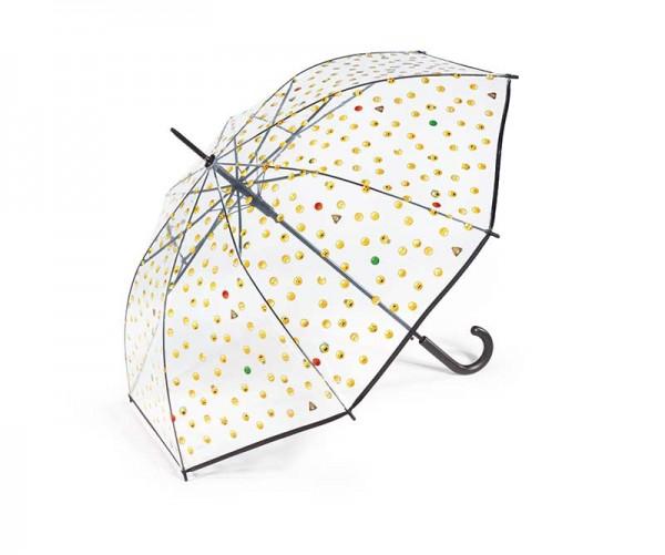 Regenschirm Stockschirm transparent mit Smileys, Farbe schwarz