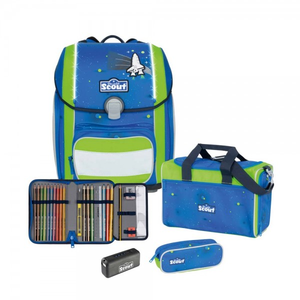 Scout Genius Safety Schulranzen-Set 4tlg. Blue Space