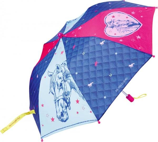 Spiegelburg Regenschirm Taschenschirm mit Hülle Pferdefreunde