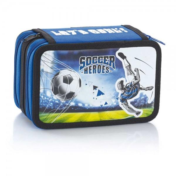 "3-fach Federmäppchen Federmappe ""Soccer Heroes"" blau"