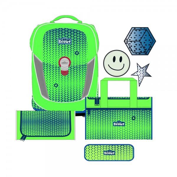 Scout Sunny II Neon Safety Schulranzen-Set 4tlg. Green Gecko