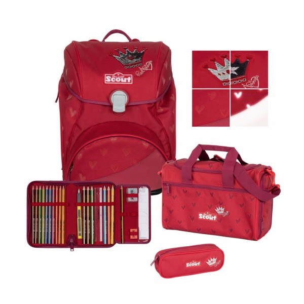 Scout Alpha Schulranzen-Set 4tlg. Premium Red Princess