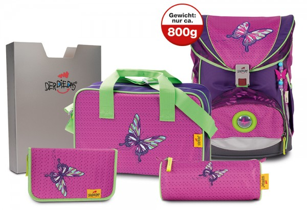 DerDieDas ErgoFlex XL Schulranzen-Set 5tlg. Papillon