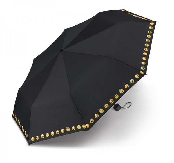 Regenschirm Taschenschirm Super Mini Essentials Emoticon Smiley in schwarz mit Hülle
