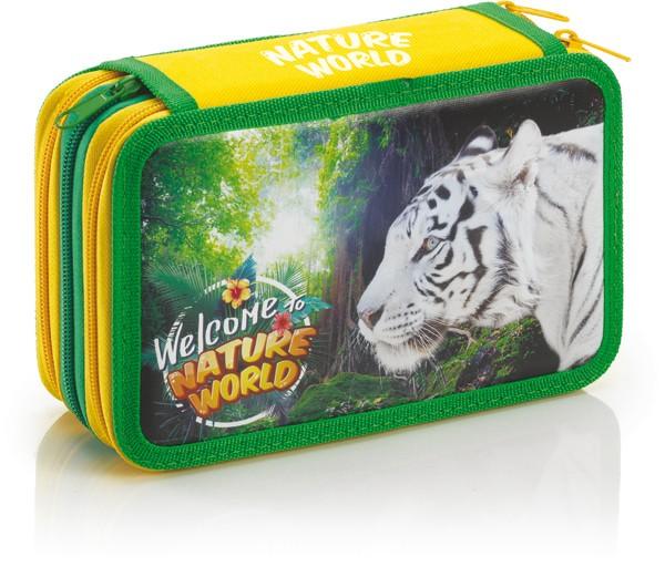 """3-fach Federmäppchen """"Nature World"""" Weißer Tiger"""