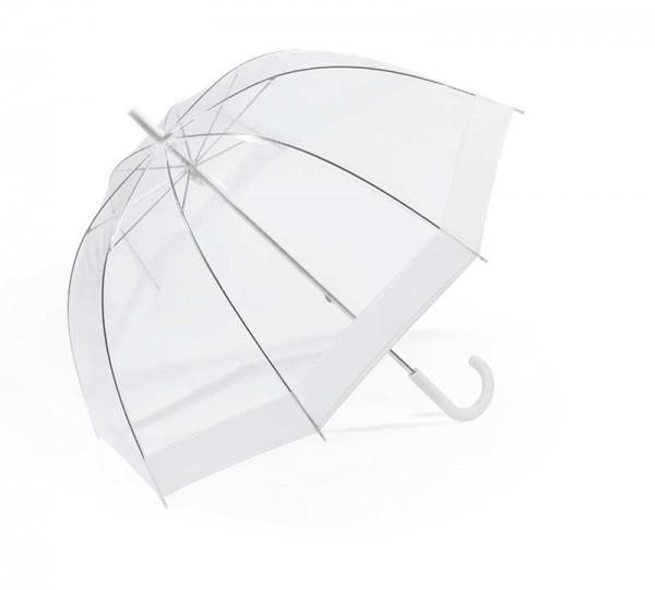 Regenschirm Glockenschirm mit Stock, weiß transparent
