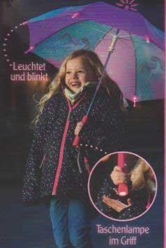 Kinder Regenschirm Einhorn Paradies mit Lichteffekten