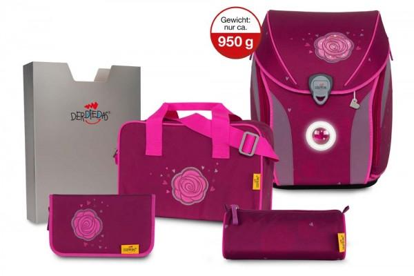 DerDieDas ErgoFlex Exklusiv LED Schulranzen-Set 5tlg. Glitter Rose