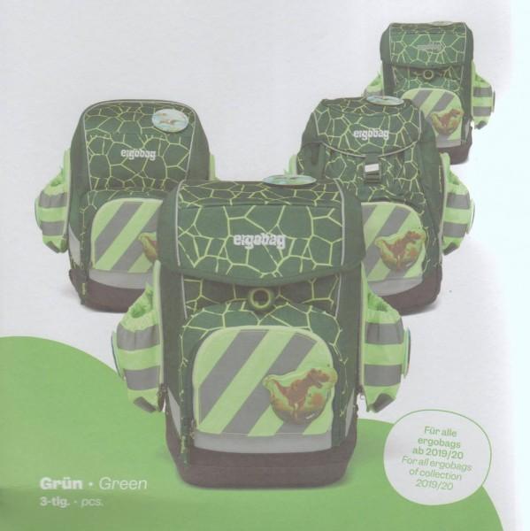Ergobag Seitentaschen Zip-Set 3tlg. mit Reflektorstreifen in leuchtgrün