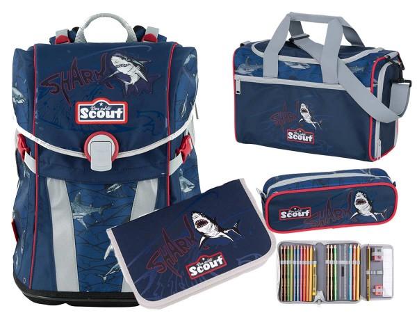 Scout Sunny Premium Schulranzen-Set 4tlg. Shark