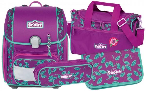 Scout Genius Schulranzen-Set 4tlg. Lilac Leaves