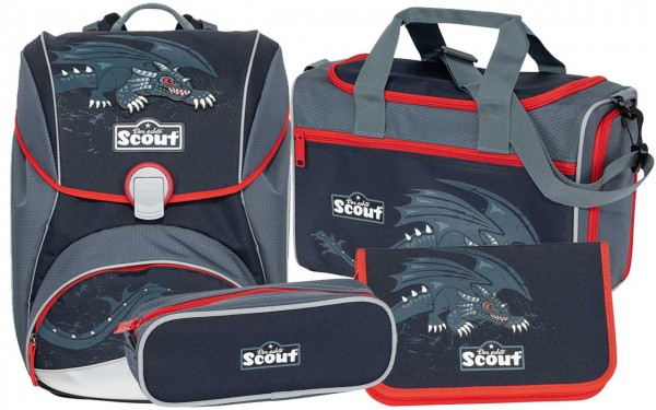 Scout Alpha Schulranzen-Set 4tlg. Black Dragon