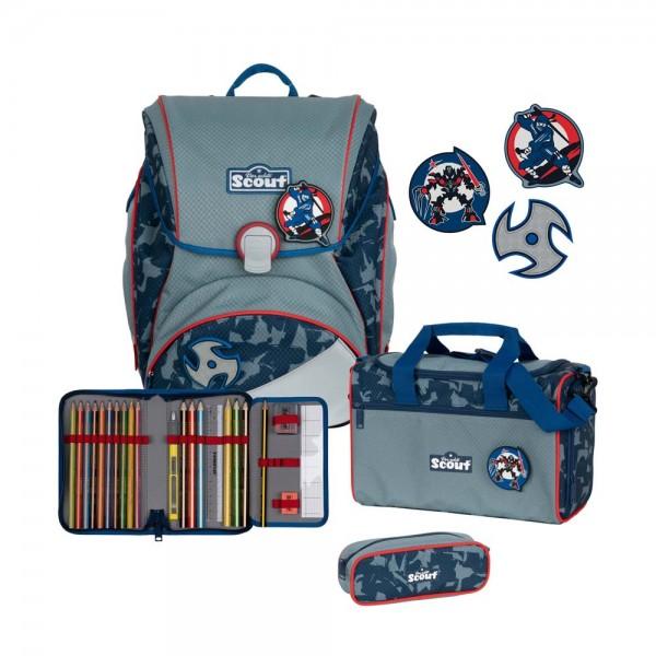 Scout Alpha Schulranzen-Set 4tlg. Blue Ninja