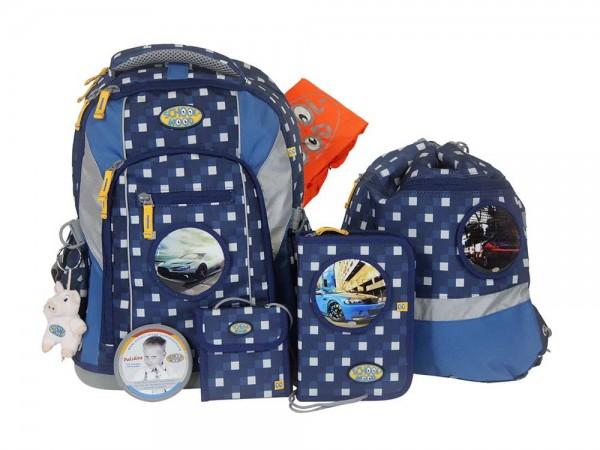 School Mood Schulrucksack Set 7tlg. LOOP Karo Blue
